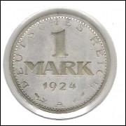 Alemanha, República de Weimar, 1 Mark 1924 A, prata, mbc/s.