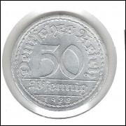 Alemanha, República de Weimar, 50 Pfennig 1922 A, alumínio, mbc/s.