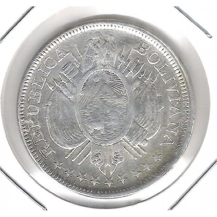 Bolívia, 50 Centavos = 1/2 Boliviano, 1893, prata, mbc.