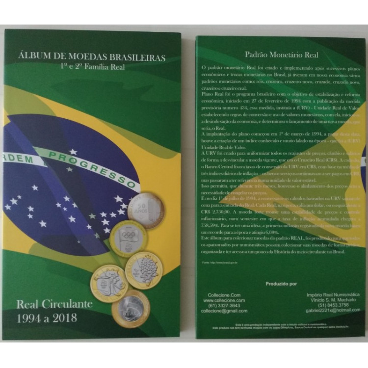 Álbum para as moedas circulantes do Real 1994-2017, inclui as comemorativas.
