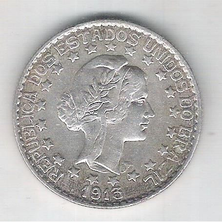 1913 - 2000 Réis, prata, estrelas soltas, mbc/s.