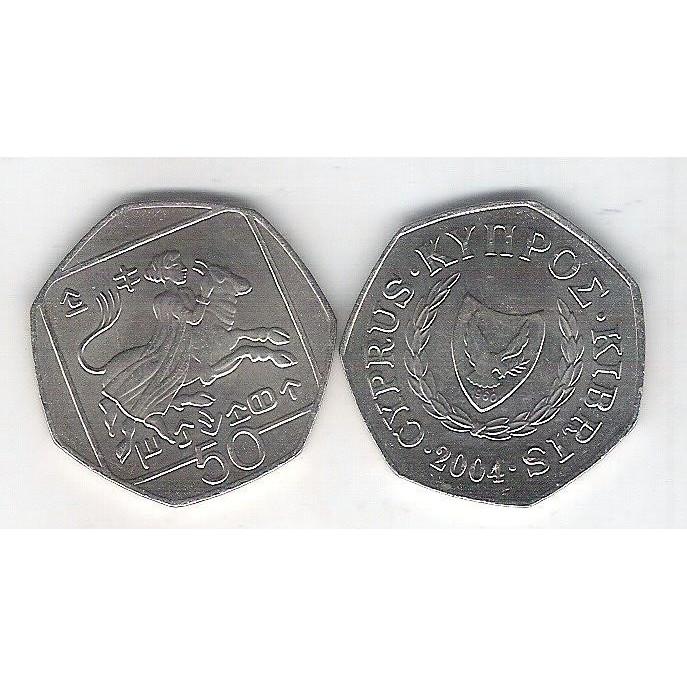 Chipre, 50 Cents 2004, Facetada, FC.