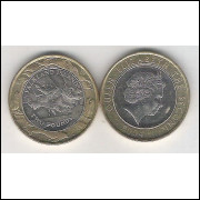 Falkland, 2 Pounds 2004, FC, Bimetálica, Rainha Elizabeth II.