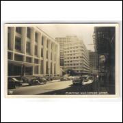 CTB54 - Postal antigo, Curitiba, Rua Cândido Lopes, biblioteca, carros.