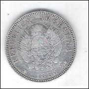 Argentina, 20 Centavos, 1883, prata, mbc.