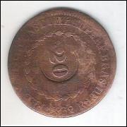 1832 R - 40 Réis com carimbo 20, cobre, Brasil-Império, D. Pedro II.