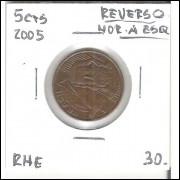 2005 - 5 Centavos, reverso horizontal à esquerda.