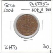 2003 - 5 Centavos, reverso horizontal à direita.