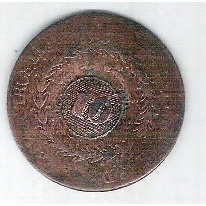 1833 C - 40 Réis com carimbo 10, Cuiabá, cobre, Brasil-Império, ERRO: PTBUS em vez de PETRUS