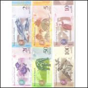 Venezuela, 2007/2014, Série 2; 5; 10; 20; 50 E 100 Bolivares, Fe, Fauna.