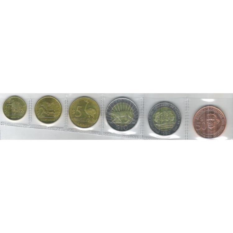 Uruguai, série de 6 moedas fc, fauna, bimetálica, 2011-2012-2014-2015.
