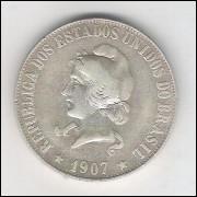 1907 - 2000 Réis, prata, mbc.