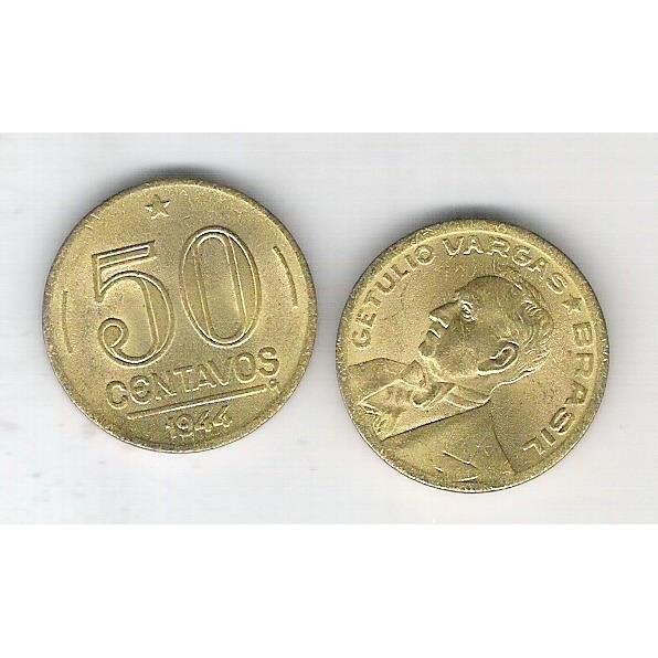 1944 - 50 Centavos, bronze-alumínio, FC. Getúlio Vargas.