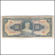 C024 - 50 Cruzeiros, 1943, Autografada, Valor Recebido, série 230, bc/mbc. Princesa Isabel.