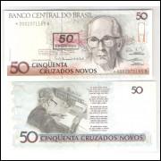 C210a - 50 Cruzeiros, 1990, com asterisco, série 2, fe. Carlos Drummond de Andrade.