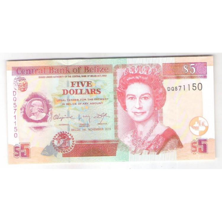 Belize - (P.67e) 5 dollars 2011 fe. Rainha Elizabeth II.