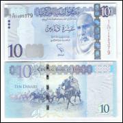 Líbia - (P.78) 10 Dinars, 2015, fe. Cavalos.