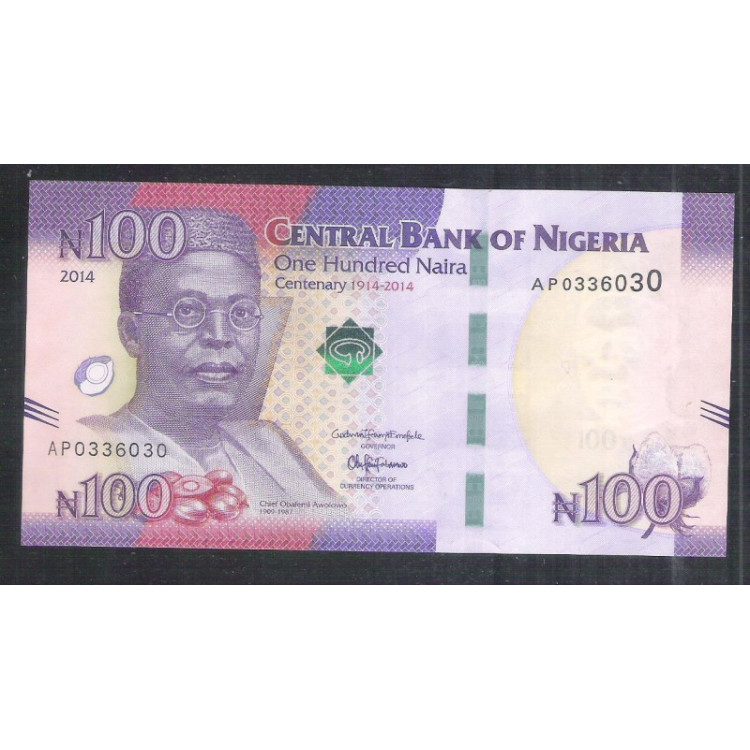 Nigéria - (nova) 100 Naira, 2014, fe.