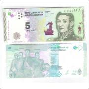 Argentina (nova) - 5 Pesos, 2015, fc. Personalidade: Jose de San Martin.