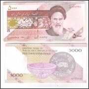 Irã (P.152) - 5.000 Rials 2013, fe. Personalidade: Aiatolá Khomeine. Cerâmicas.