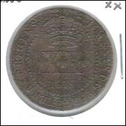 1815 R - XX Réis, cobre, Brasil-Colônia, D. João, mbc+.
