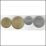 Kênia 5; 10; 50 Cents e 1 Shilling 1989