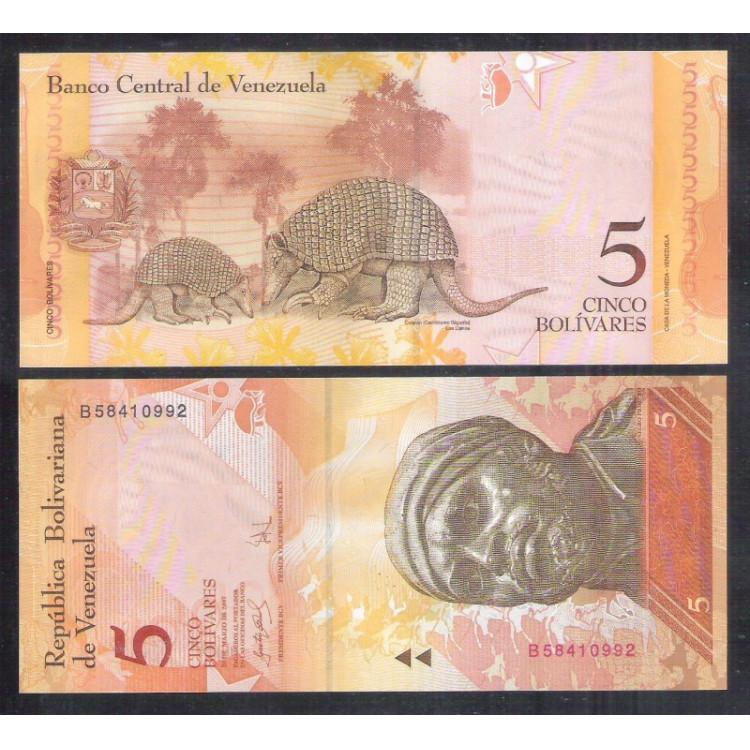 Venezuela (P.89) - 5 Bolívares 2007, fe. Personalidade: Negro Primeiro. Fauna, tatu.