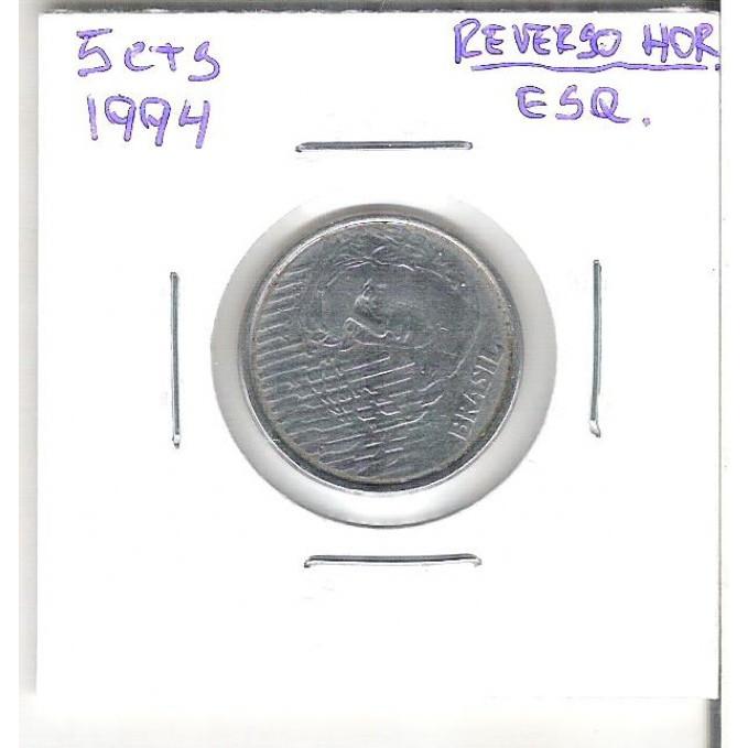 1994 - 5 Centavos, Reverso Horizontal à esquerda.