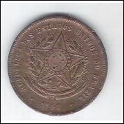 1908 - Brasil, 20 Réis, bronze, bc/mbc.