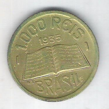 1935 - Brasil, 1000 Réis, bronze-alumínio, mbc+. Anchieta.