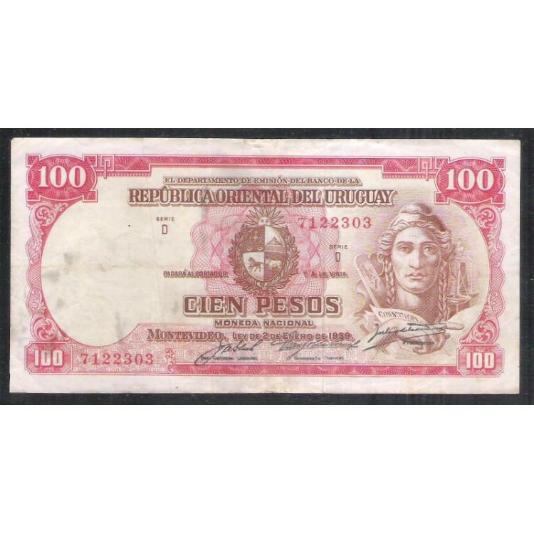 Uruguai (P.39) - 100 Pesos 1939, Série D, mbc.