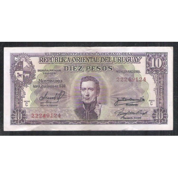 Uruguai (P.42) - 10 Pesos 1939, Série C, mbc/s.