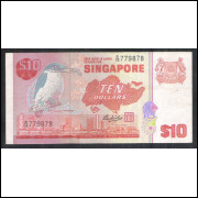 Singapura - (P.11b) 10 Dollars, 1980, mbc/s. Fauna, ave.