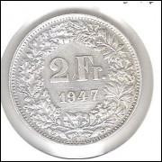 Suíça, 2 Francs, 1947, prata, mbc.