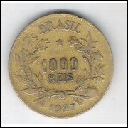 1927 - Brasil, 1000 Réis, bronze-alumínio, mbc.