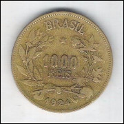 1924 - Brasil, 1000 Réis, bronze-alumínio, mbc.