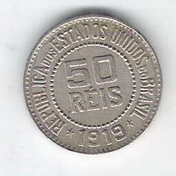 1919 - Brasil, 50 Réis, cuproníquel, mbc/s.