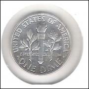 Estados Unidos, 1 Dime, 1963, prata, PROOF. Roosevelt