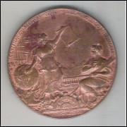Brasil, Medalha (Girardet) 1808-1908 Centenário da Abertura dos Portos - Exposição Nacional.