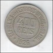 1926 - Brasil, 400 Réis, cuproníquel, mbc/s.