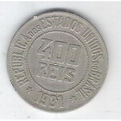 1931 - Brasil, 400 Réis, cuproníquel, mbc.