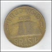 1938 - Brasil, 1000 Réis, bronze-alumínio, mbc. Anchieta.