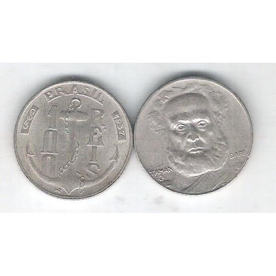 1937 - Brasil, 100 Réis, cuproníquel, s/fc. Almirante Tamandaré.