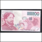 Bélgica - (P.147) 100 Francs, 1995-2001, mbc+. Personalidade: James Ensor (1860-1949)