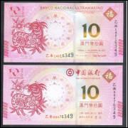Macau - 10 Patacas 2015, duas cédulas FE, uma do Banco da China e outra Banco Nacional Ultramarino.