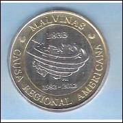 Argentina, 2 Pesos 2012, bimetálica, Comemorativa 30 anos da Recuperação das Ilhas Malvinas.