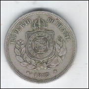 1885 - Brasil-Império, Dom Pedro II, 100 Réis, cupro-níquel, mbc.