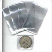 Envelopes pvc para moedas, com espaço para etiqueta, (100 unidades).