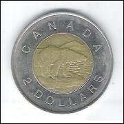 Canada, 2 Dollars 1996, mbc, bimetálica, Diâmetro: 28mm - Fauna, urso.
