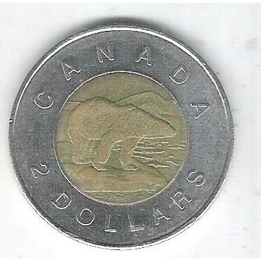 Canada, 2 Dollars 2008, mbc, bimetálica, Diâmetro: 28mm - Fauna, urso.